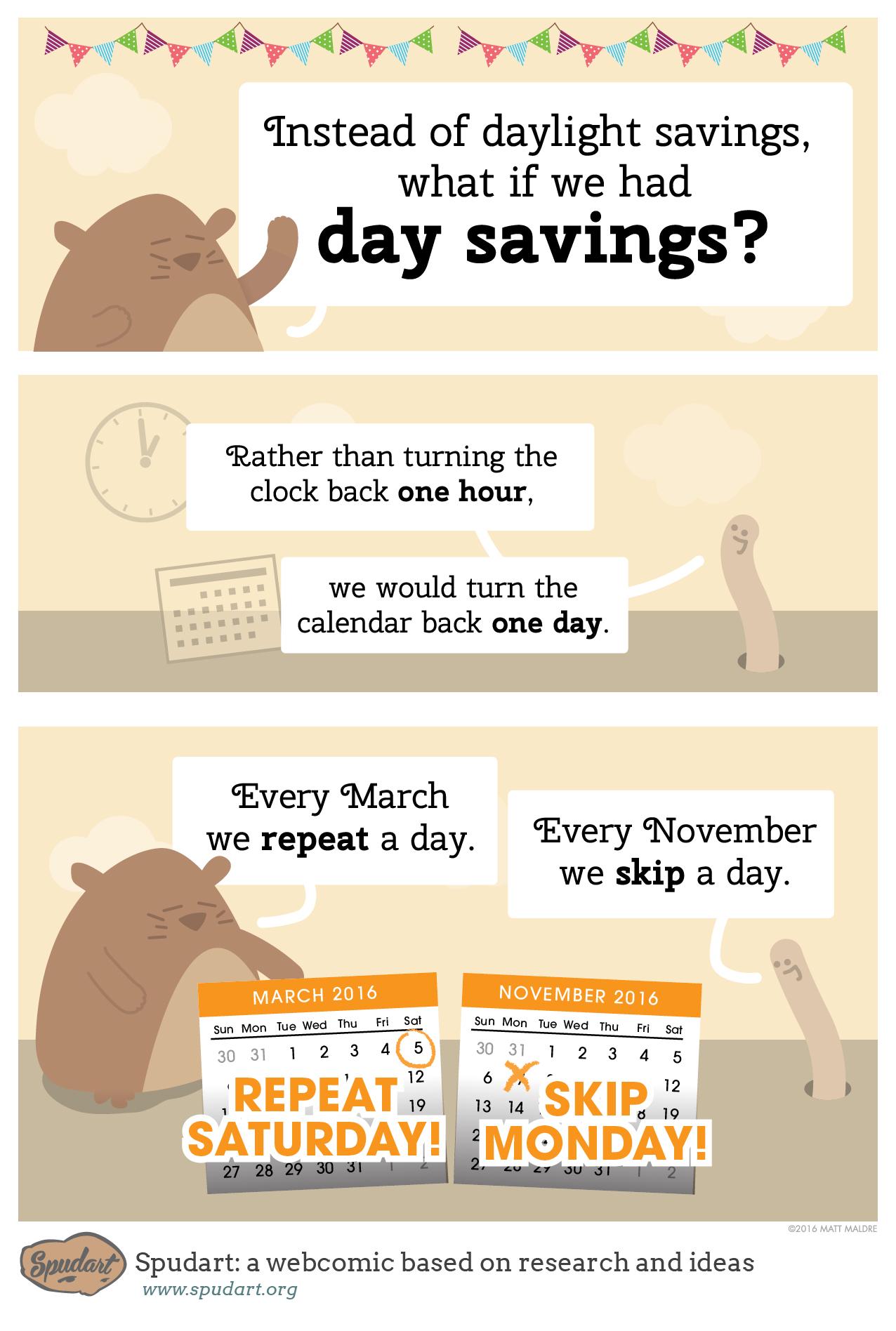 Instead of Daylight Savings, what if we had Day Savings?