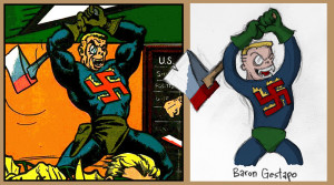 Baron Gestapo, original and cartoon