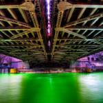 Green Chicago River under Michigan Avenue Bridge