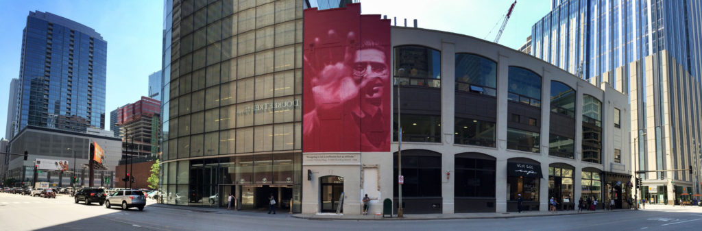 László Moholy-Nagy magenta mural in Chicago