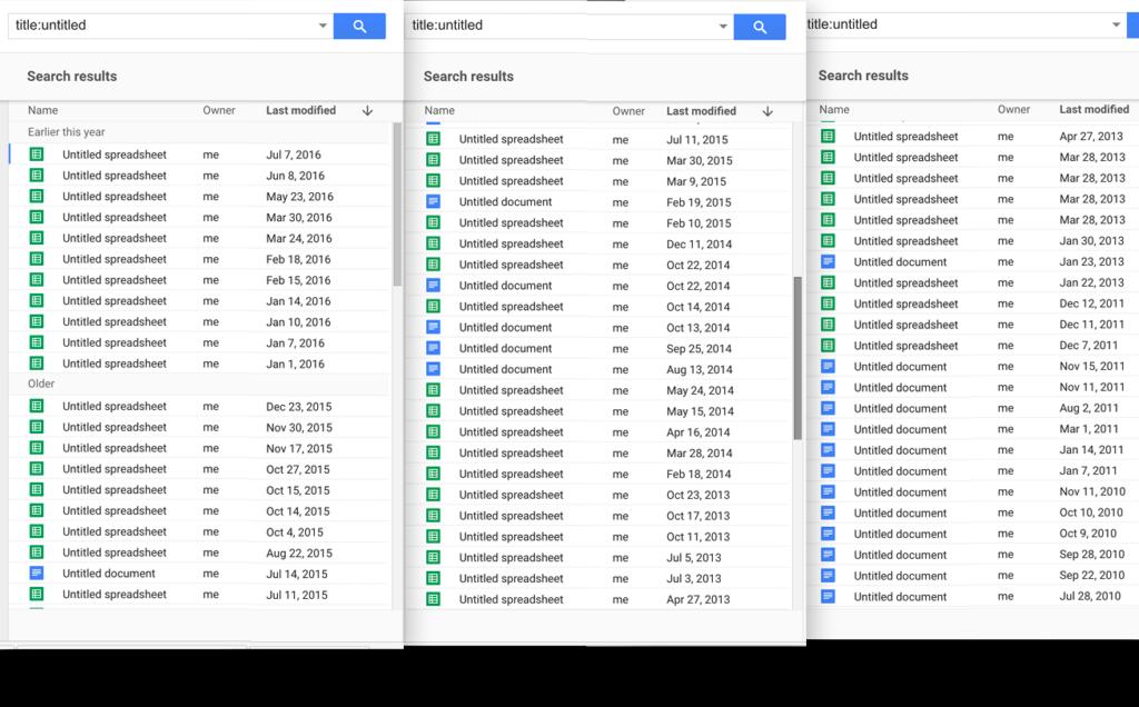 Untitled spreadsheet: google drive