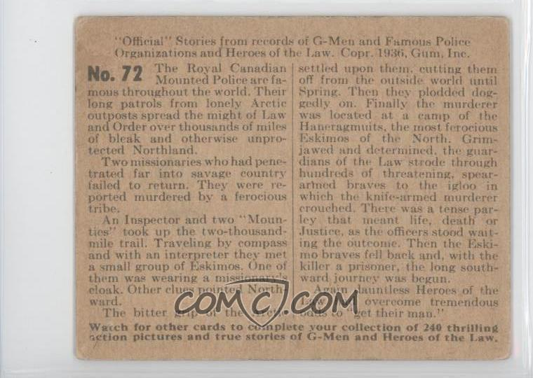 back of 1936 G-Men & Heroes of the Law R60 #72