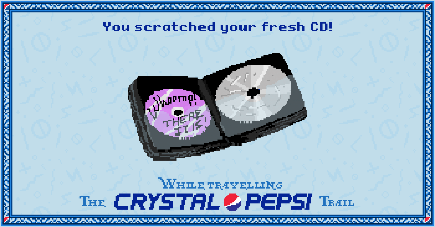 Scratched CD in the #CrystalPepsi Trail, #90s