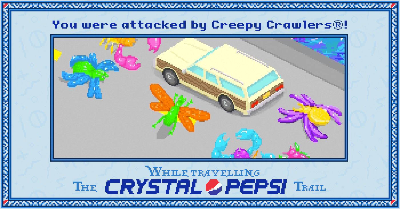 Creepy Crawlers on the bridge in the #CrystalPepsi Trail, #90s