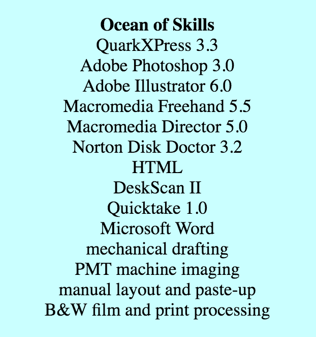 Geocities: resume, ocean of skills