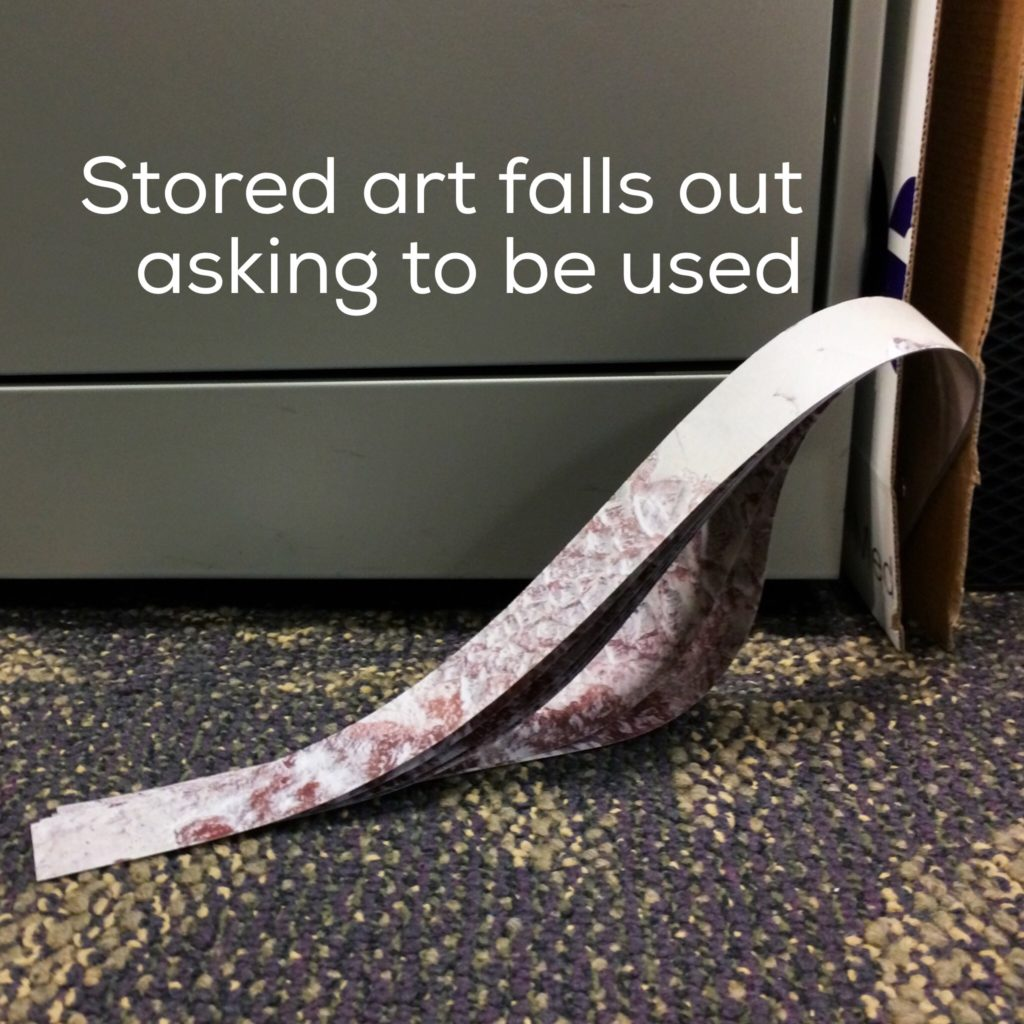 Artwork falling out of its envelope, asks to be used.