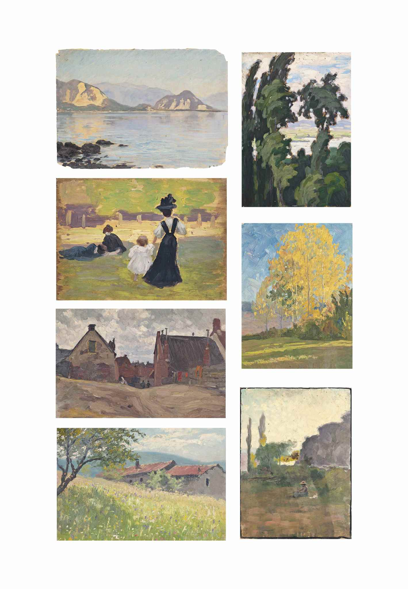 A folio of seventeen oil sketches of landscape studies