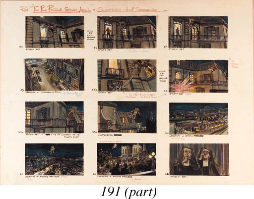 Pink Panther Strikes Again: storyboard sketches