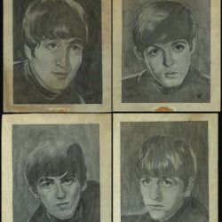 The Beatles pencil sketches