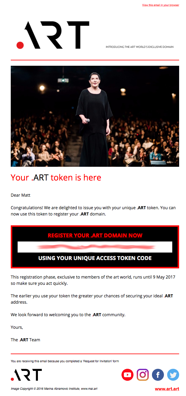 Your .Art token is here. Register now