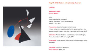 Alexander Calder: Quatre Blancs auction