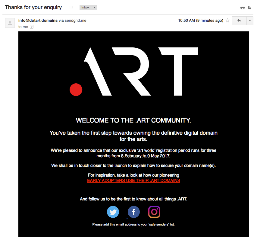 Art domain's email reply for inquiring interest in an .art domain
