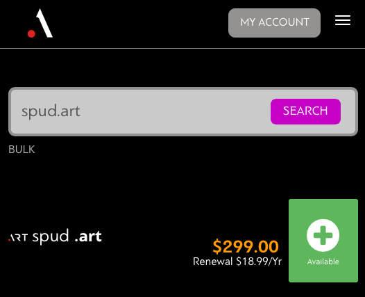 .Art domains will have an initial $299 fee, then $18.99 annually thereafter