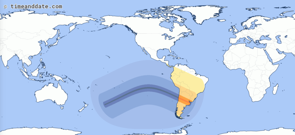 Map of next solar eclipse over the Pacific Ocean and Argentina