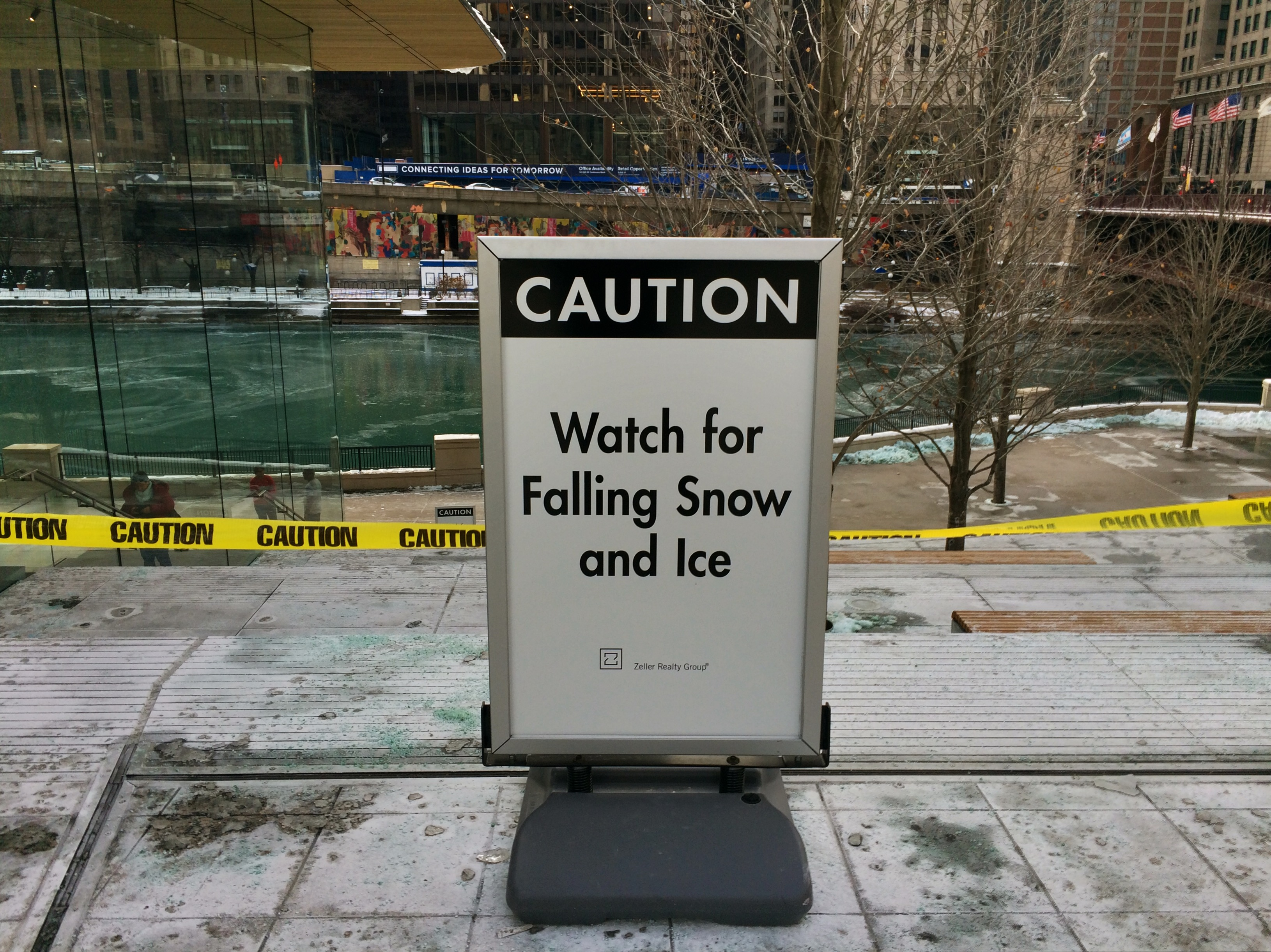 Michigan Avenue Apple Store Closes Staircase Due To Falling Ice
