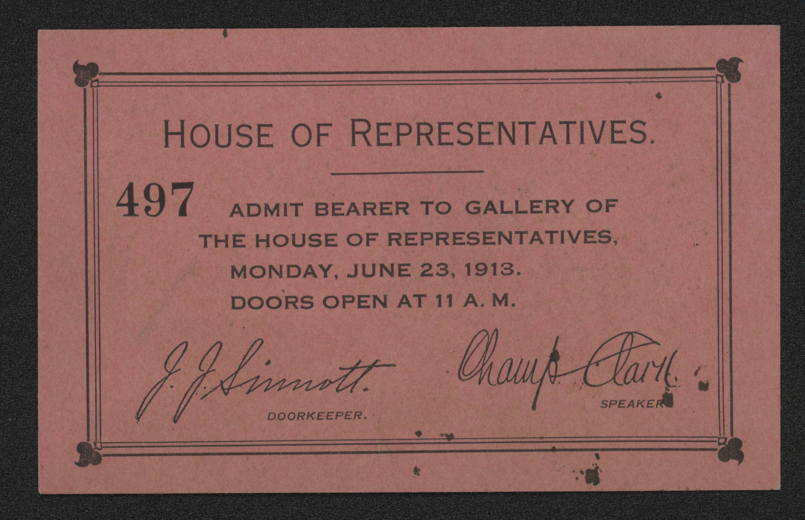 1913 House of Representatives ticket