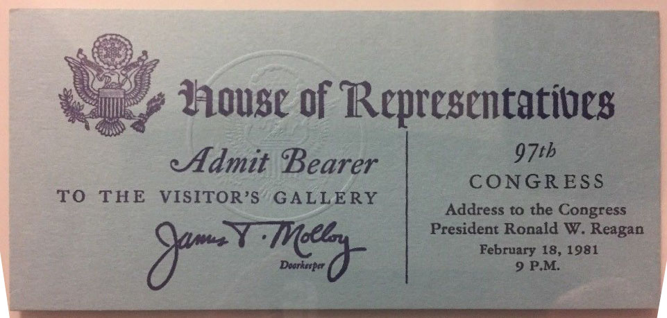 1981 President Ronald Reagan State of the Union Address to Congress Ticket