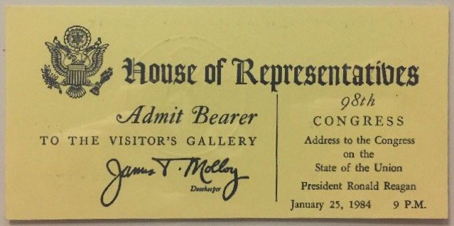 1984 Ronald Reagan SOTU ticket