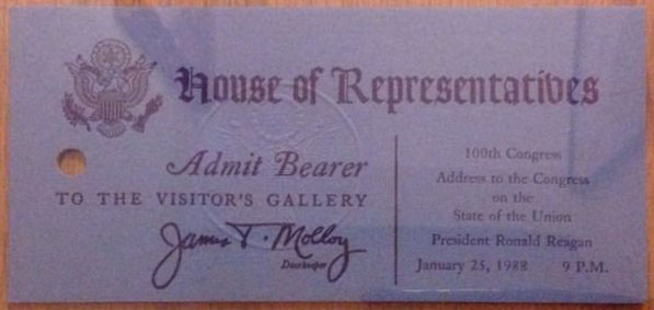 1988 President Ronald Reagan State of the Union Address to Congress Ticket