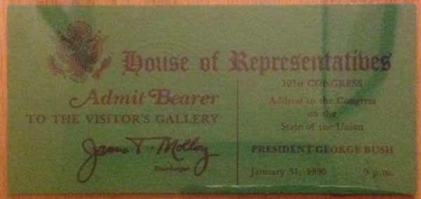 1990 President George Bush State of the Union Address to Congress Ticket