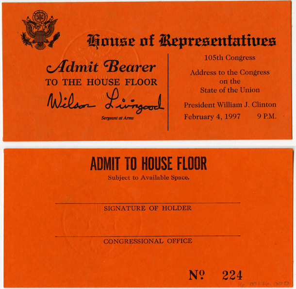 Ticket, Address to the Congress on the State of the Union, President William J. Clinton, 105th Congress