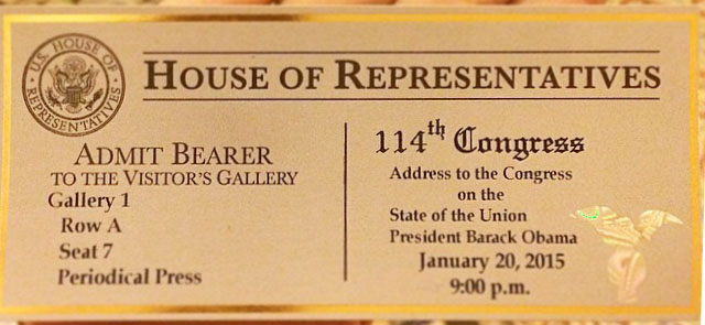 2015 Barack Obama State of the Union ticket