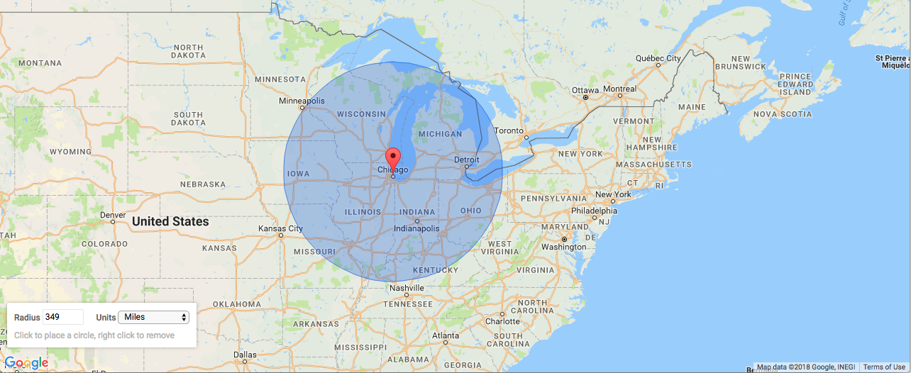 Size of Dione (Saturn moon) against a map of USA