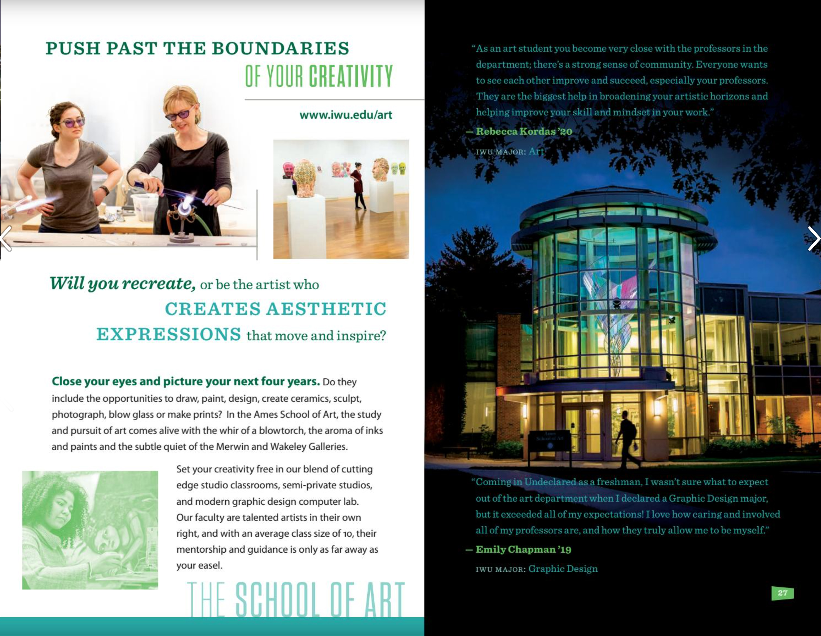 IWU Breakthrough recruiting viewbook: page 29 School of Art