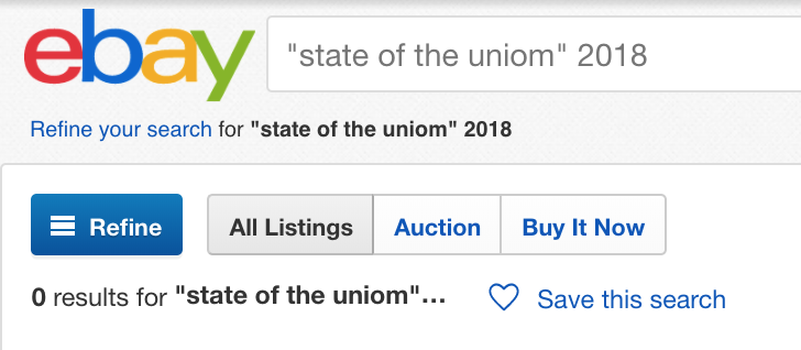"eBay auctions for: ""state of the uniom"""
