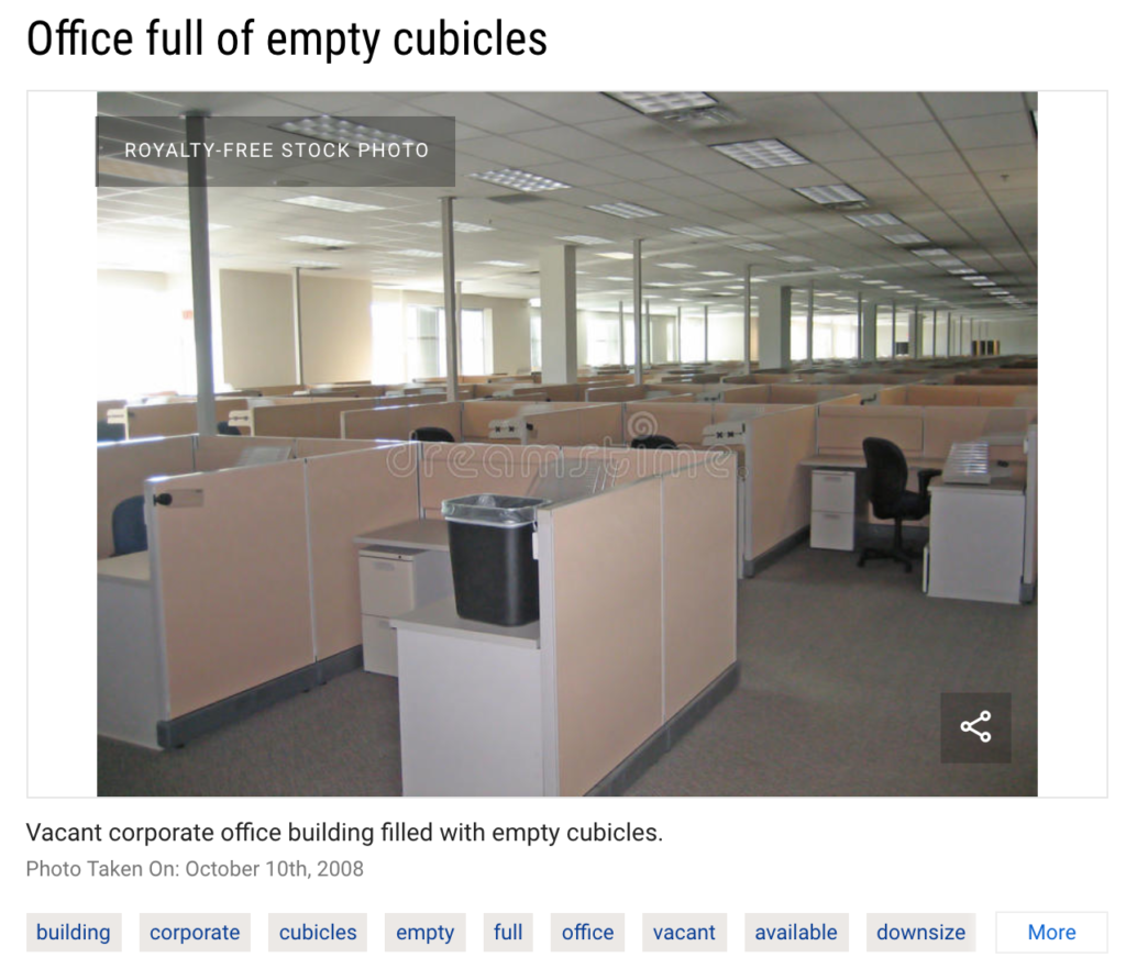 Office full of empty cubicles