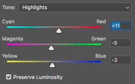 Photoshop color balance adjustment on Matt Murton