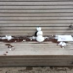 snowman on bench on riverwalk