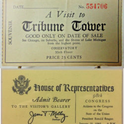 Tribune Tower ticket compared to State of the Union ticket