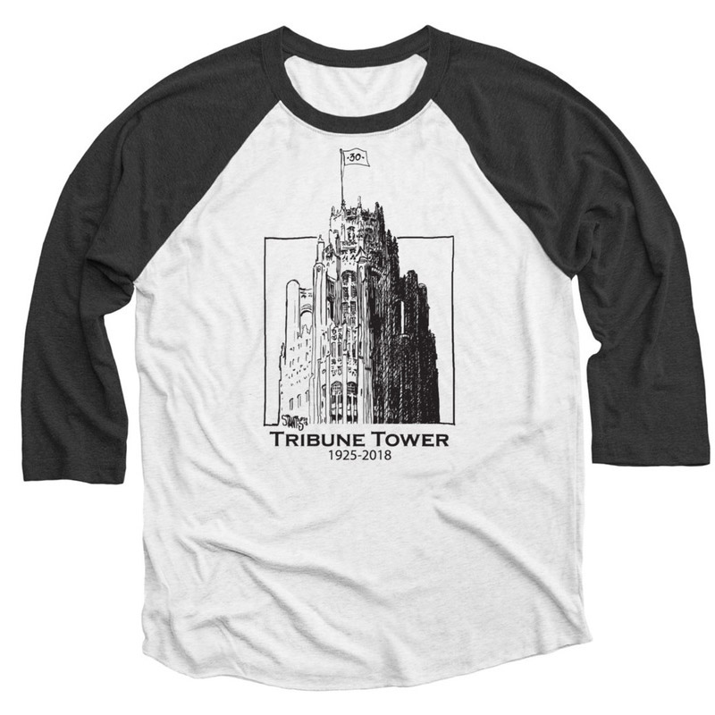 black and heather white baseball tee shirt: Tribune Tower by Scott Stantis