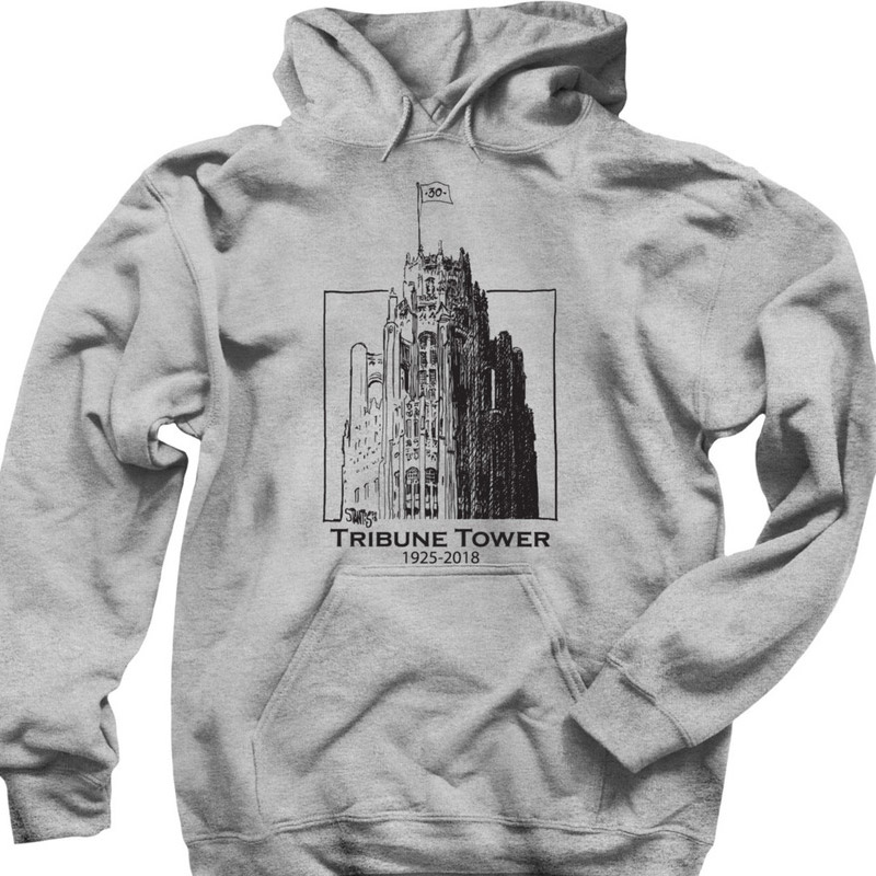 gray hoodie: Tribune Tower by Scott Stantis