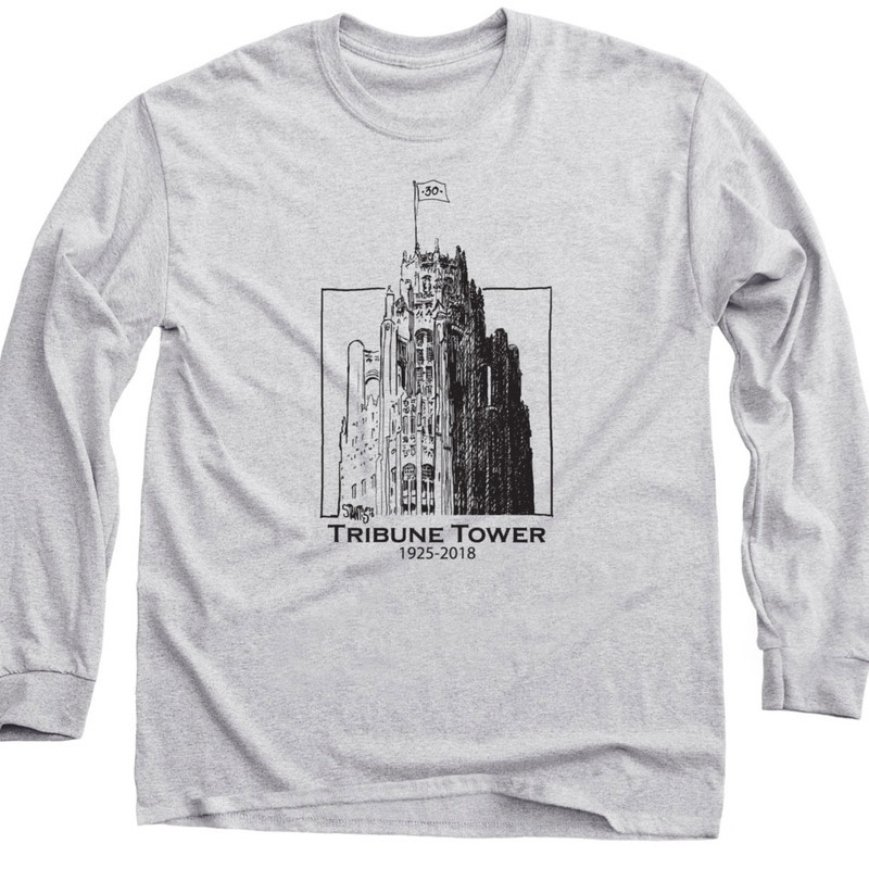 gray long sleeve shirt: Tribune Tower by Scott Stantis