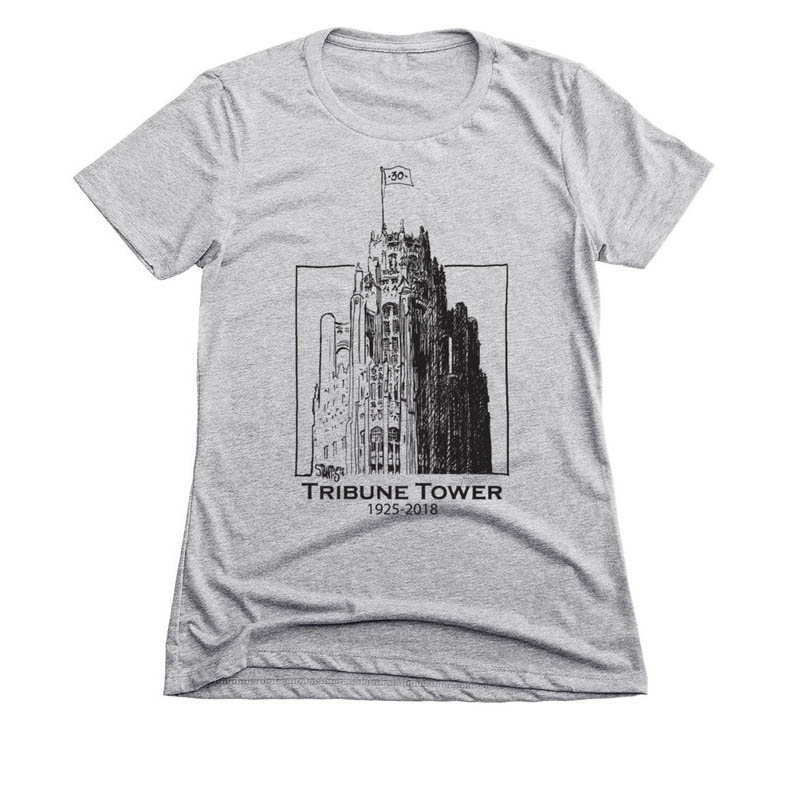 gray womens slim fit tshirt: Tribune Tower by Scott Stantis