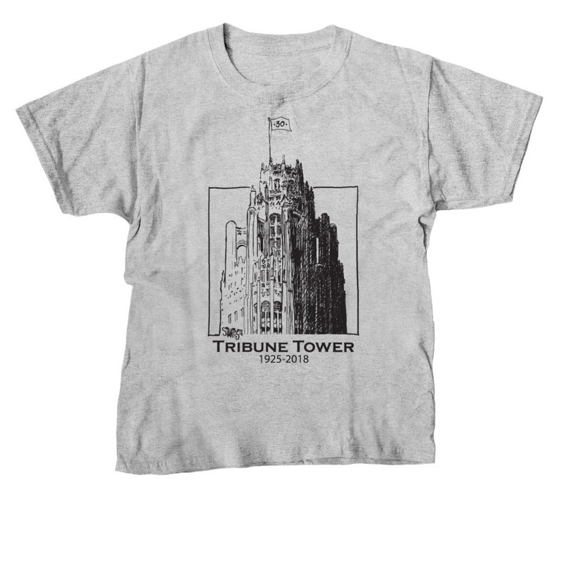 gray tshirt: Tribune Tower by Scott Stantis