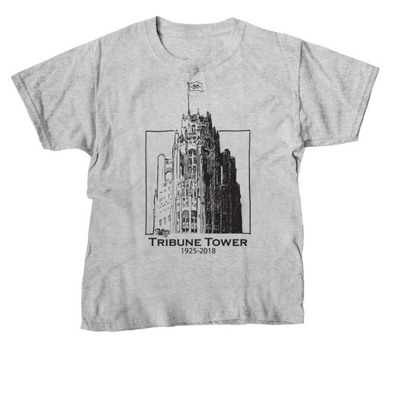gray tshirt: Tribune Tower by Scott Stantis