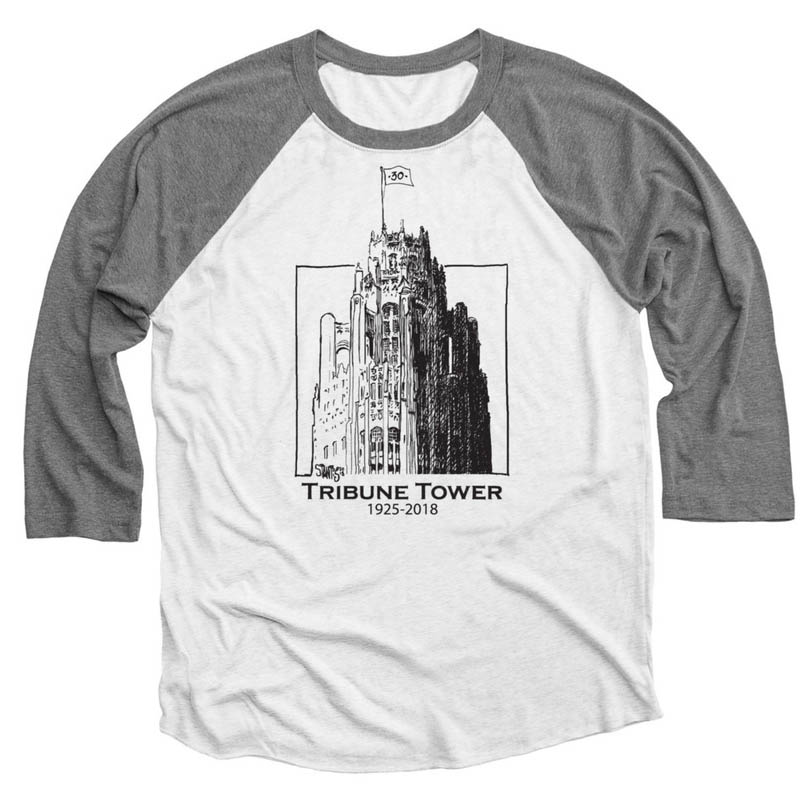 gray and heather white baseball tee shirt: Tribune Tower by Scott Stantis