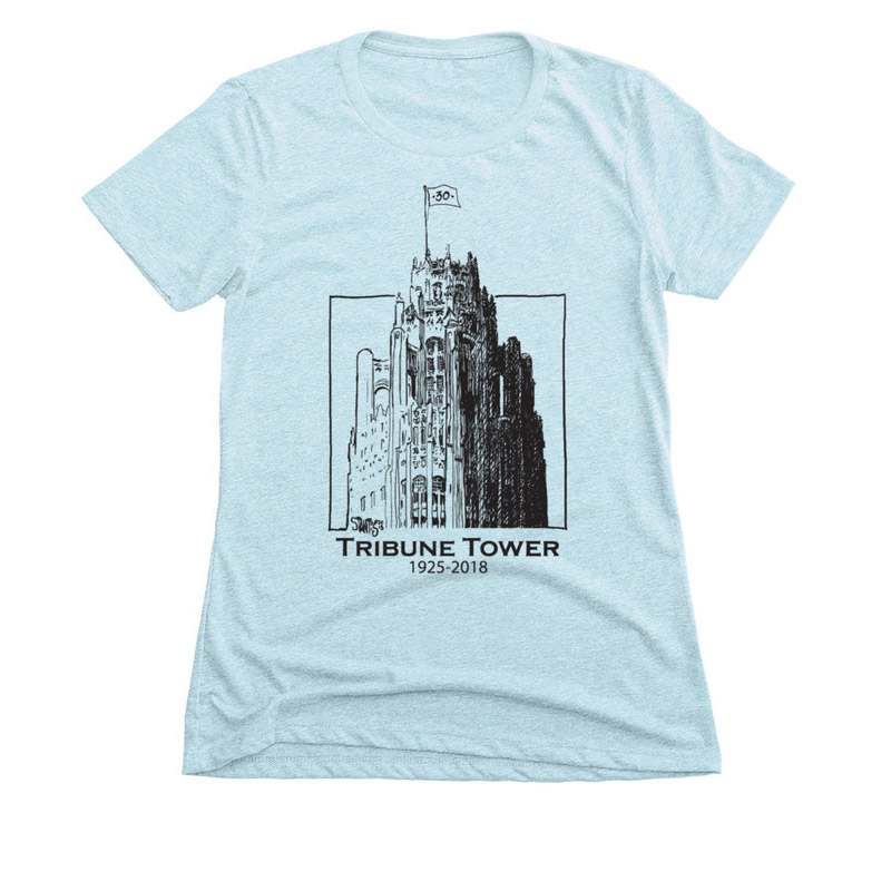 ice blue womens slim fit tshirt: Tribune Tower by Scott Stantis