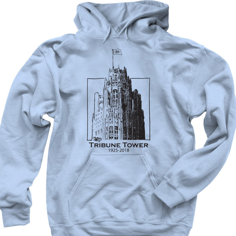 light blue: hoodie: Tribune Tower by Scott Stantis