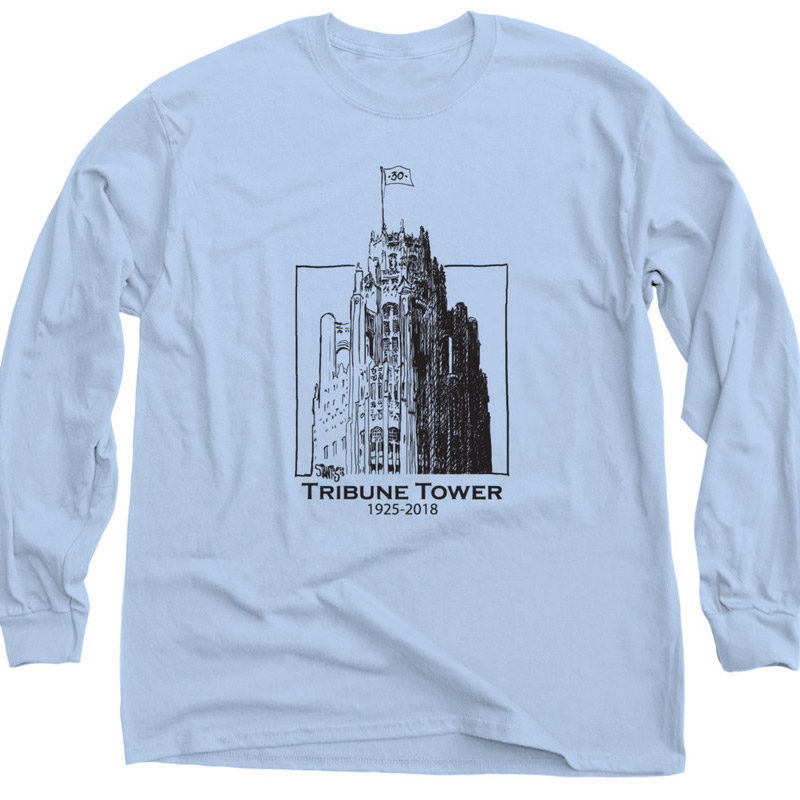 light blue long sleeve shirt: Tribune Tower by Scott Stantis