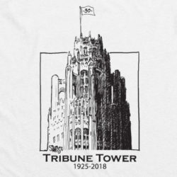 Tribune Tower with -30- flag, end of story, 1925-2018