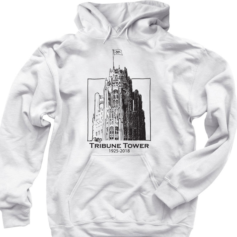 white hoodie: Tribune Tower by Scott Stantis