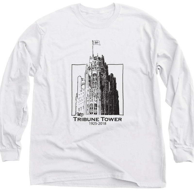 white long sleeve shirt: Tribune Tower by Scott Stantis