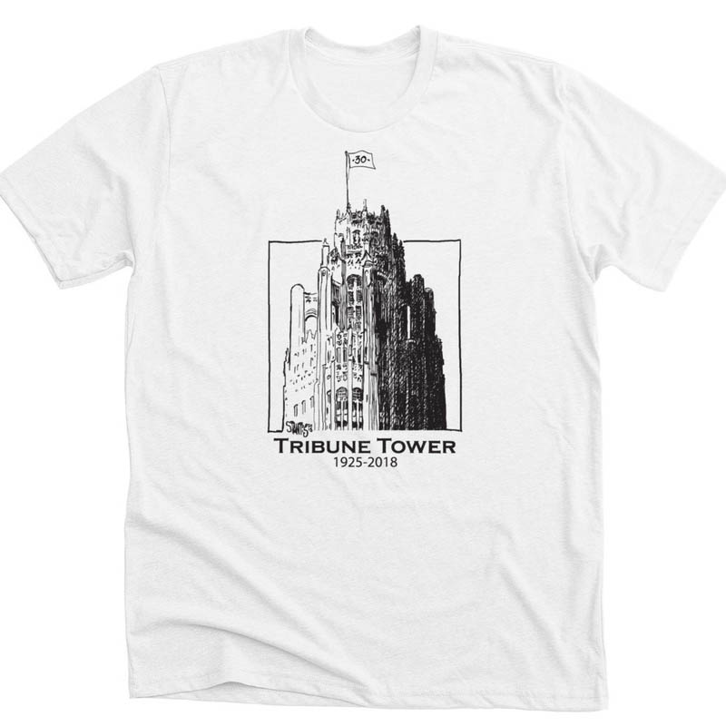 white tshirt: Tribune Tower by Scott Stantis