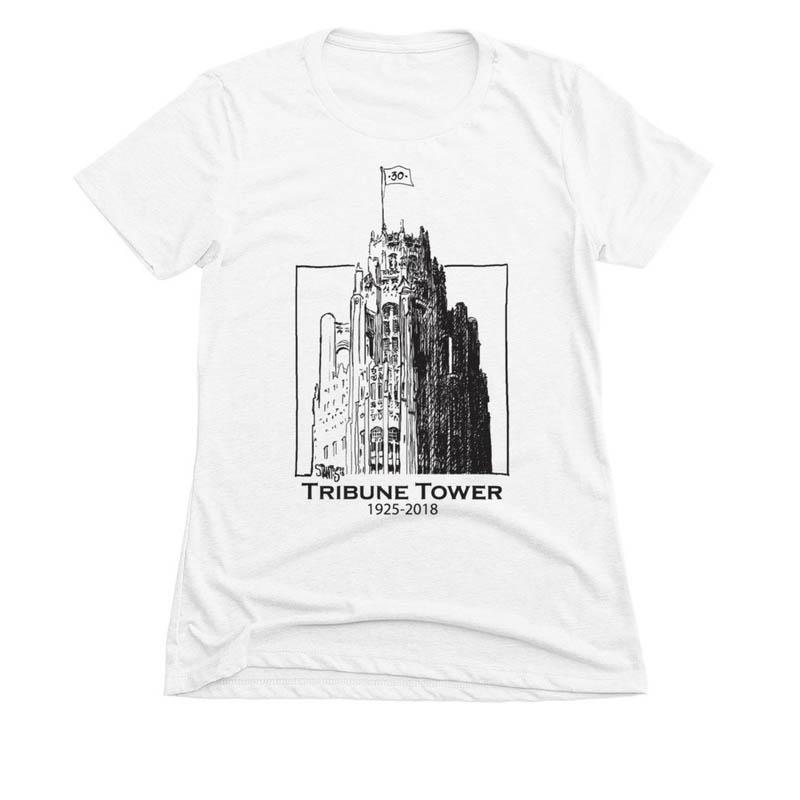 white womens slim fit tshirt: Tribune Tower by Scott Stantis
