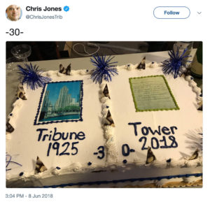 Tribune Tower cake and champagne for farewell. Tweet by ChrisJonesTrib