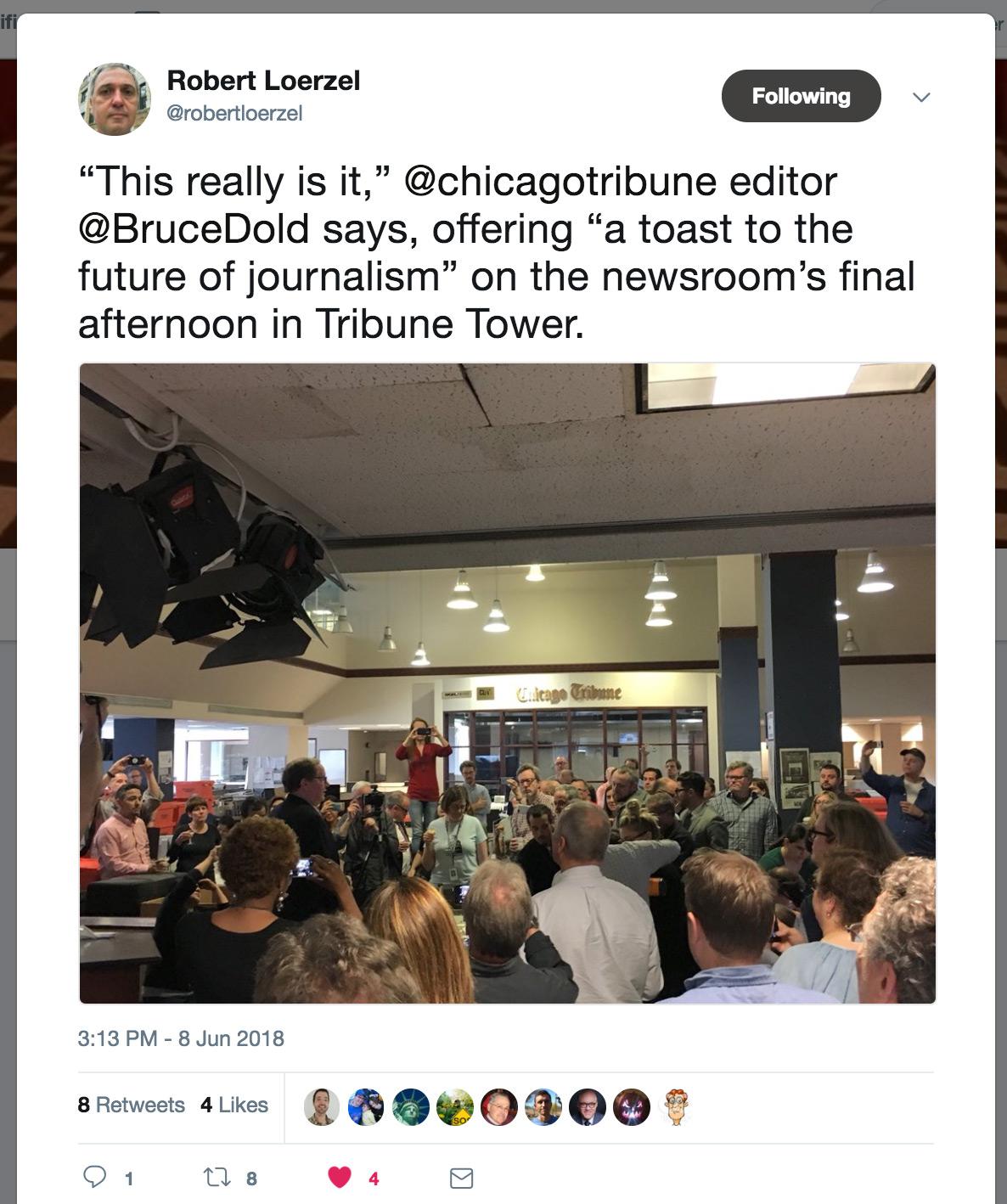 Tribune Tower farewell speech by Bruce Dold. Tweet by @robertloerzel